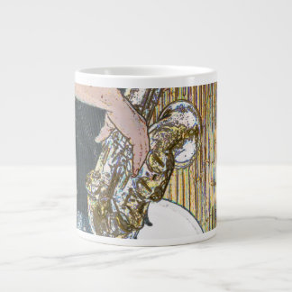 saxofón posterized del jugador de saxofón de oro taza de café grande
