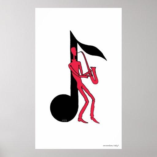Saxofón que juega el dibujo de la tinta de la plum impresiones