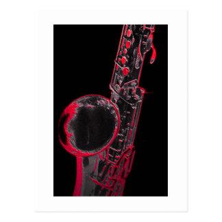 Saxofón rojo postal
