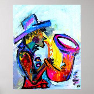 saxofón un 16x20 abstracto poster