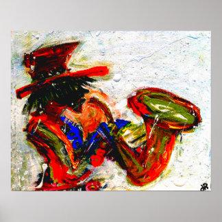 saxofón un 20x16 abstracto posters