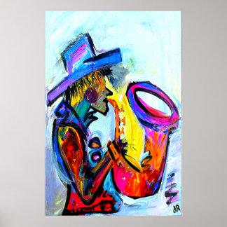 saxofón un 24x36 abstracto póster