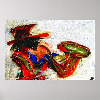 saxofón un 36x24 abstracto posters