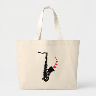 Saxofón y amor bolsa de mano