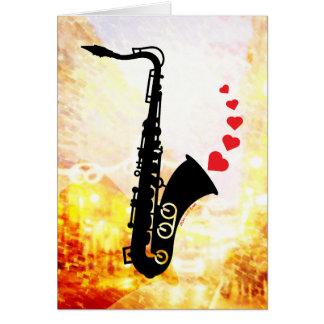 Saxofón y amor tarjeta de felicitación