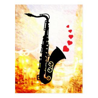 Saxofón y amor tarjetas postales