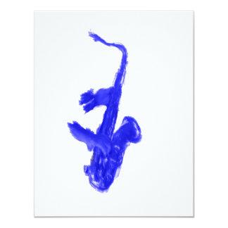 Saxofón y manos, versión azul comunicado