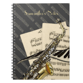 Saxofón y música del piano note book