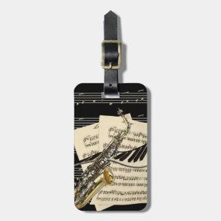 Saxofón y música del piano personalizada etiquetas de maletas