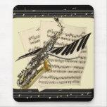 Saxofón y música Mousepad del piano Tapete De Ratones