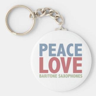 Saxofones del barítono del amor de la paz llavero
