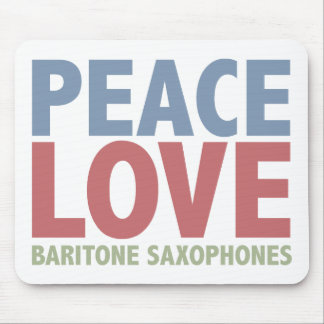 Saxofones del barítono del amor de la paz tapete de ratones