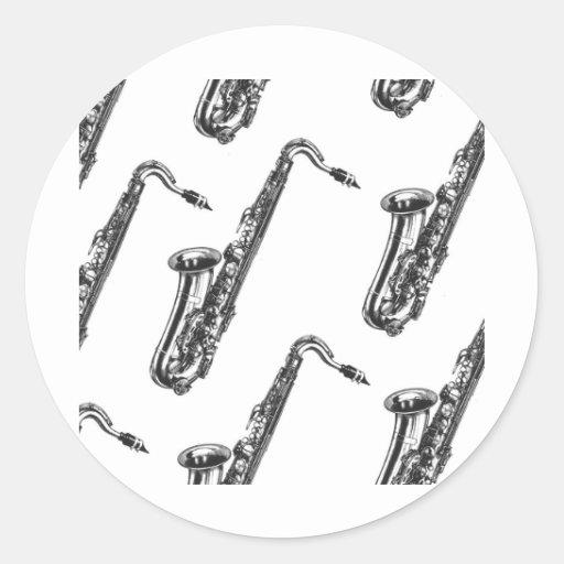 Saxofones Pegatina Redonda
