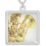 Saxophone 3 square pendant necklace