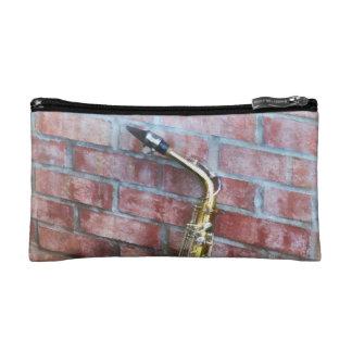 Saxophone Against Brick Cosmetic Bag