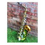 Saxophone Against Brick Postcard
