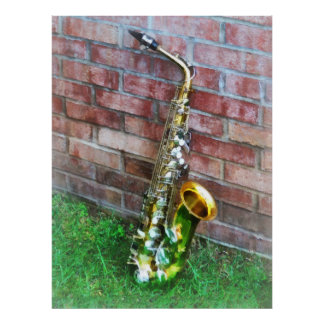 Saxophone Against Brick Poster