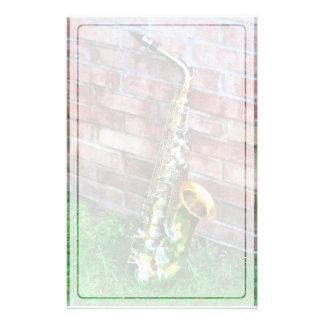 Saxophone Against Brick Stationery