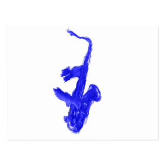 Saxophone and hands, blue version postcard