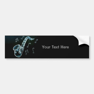 Saxophone And Music Notes Bumper Sticker