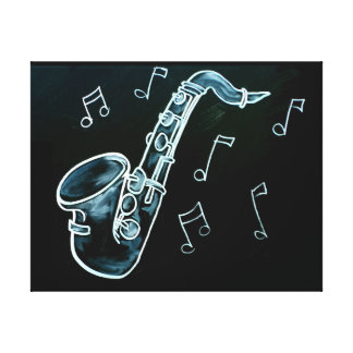 Saxophone And Music Notes Canvas Print