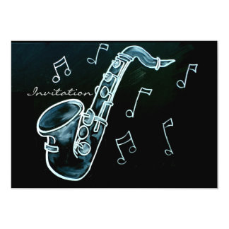 Saxophone And Music Notes Card