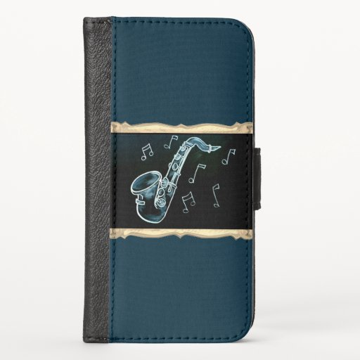 Saxophone And Music Notes iPhone X Wallet Case