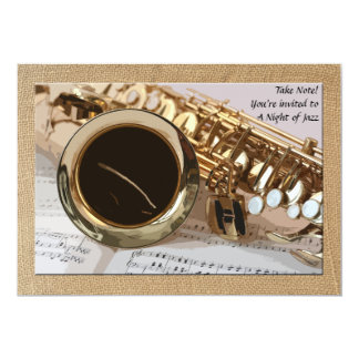 Saxophone and Sheet Music Invitation