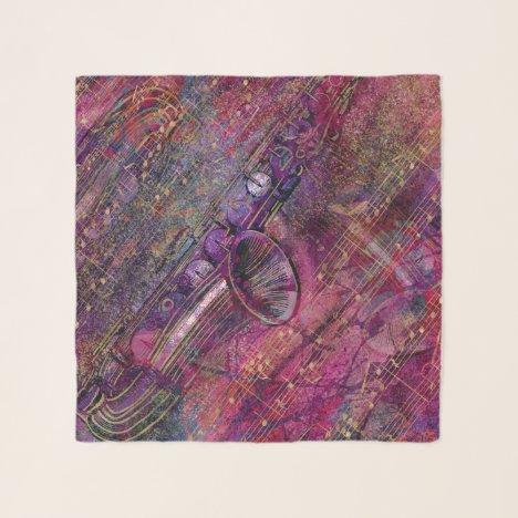 Saxophone Art Collage - mixed media Scarf