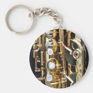 Saxophone Basic Round Button Keychain