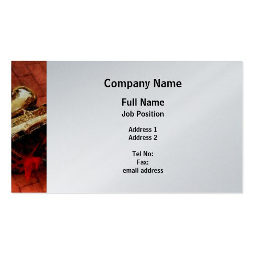 Saxophone Before Parade - Platinum Finish Business Card
