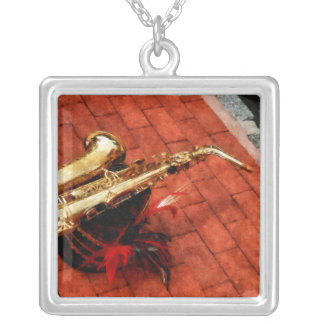 Saxophone Before the Parade Silver Plated Necklace