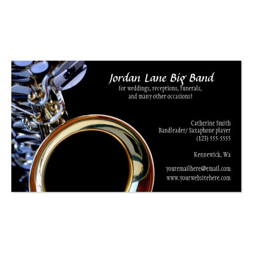 Saxophone big band profile business card zazzle for Band business cards