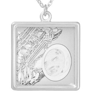 Saxophone Black Ink Drawing Necklace