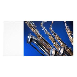Saxophone Blue Photo Card