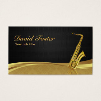 Saxophone Brass Instrument Elegant Gold Damask Business Card