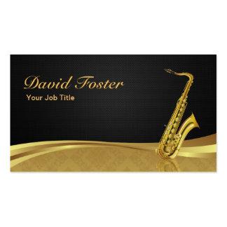 Saxophone Brass Instrument Elegant Gold Damask Business Card Template