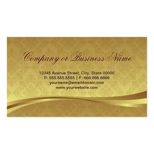 Saxophone Brass Instrument Elegant Gold Damask Business Card Template (back side)
