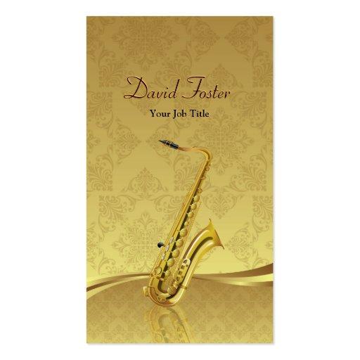 Saxophone Brass Instrument Elegant Gold Damask Business Card Template (front side)
