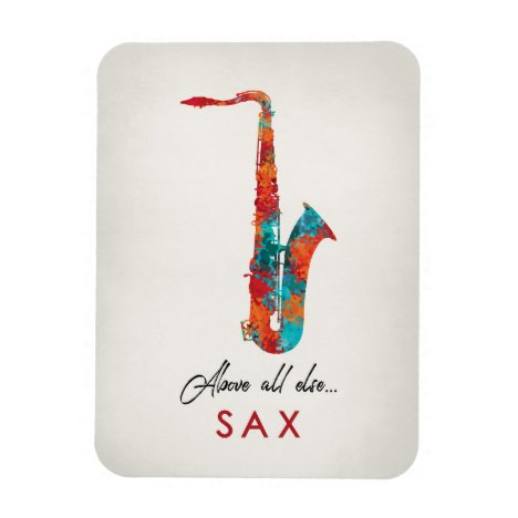 Saxophone - Bright Colorful Music Magnet
