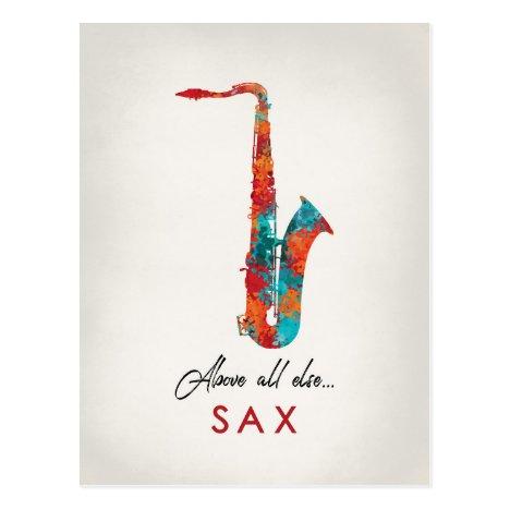 Saxophone - Bright Colorful Music Postcard