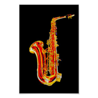 Saxophone cartoon poster