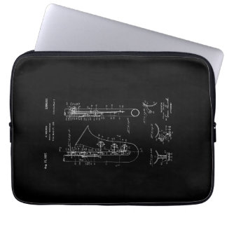 Saxophone 'chalk style' Patent Drawing Laptop Sleeve