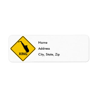 Saxophone Crossing Highway Sign Label