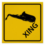 Saxophone Crossing Highway Sign Print