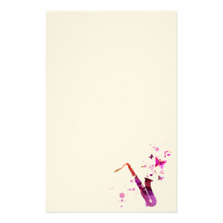 Saxophone cute music and butterflies stationery