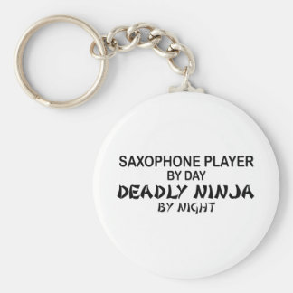 Saxophone Deadly Ninja by Night Basic Round Button Keychain