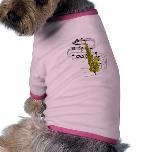 Saxophone Dog Tee Shirt