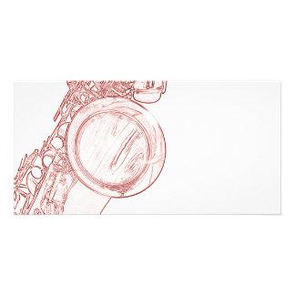 Saxophone Drawing Photo Card