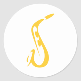 Saxophone for Saxophonist's Logo in Swish Drawing Round Stickers
